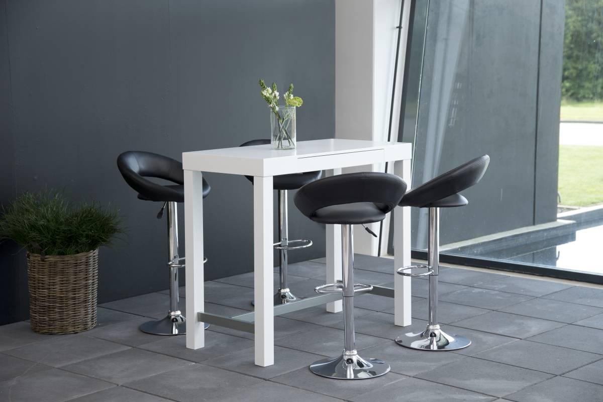 Designová barová židle Navi černá a chromová