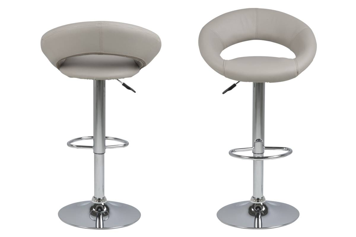 Designová barová židle Navi šedohnědá a chromová