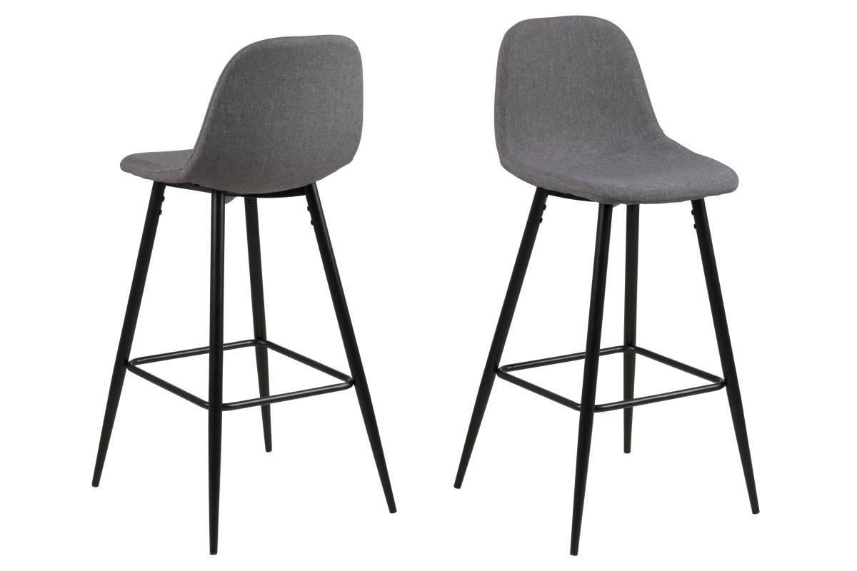Designová barová židle Nayeli světle šedá a černá 91 cm