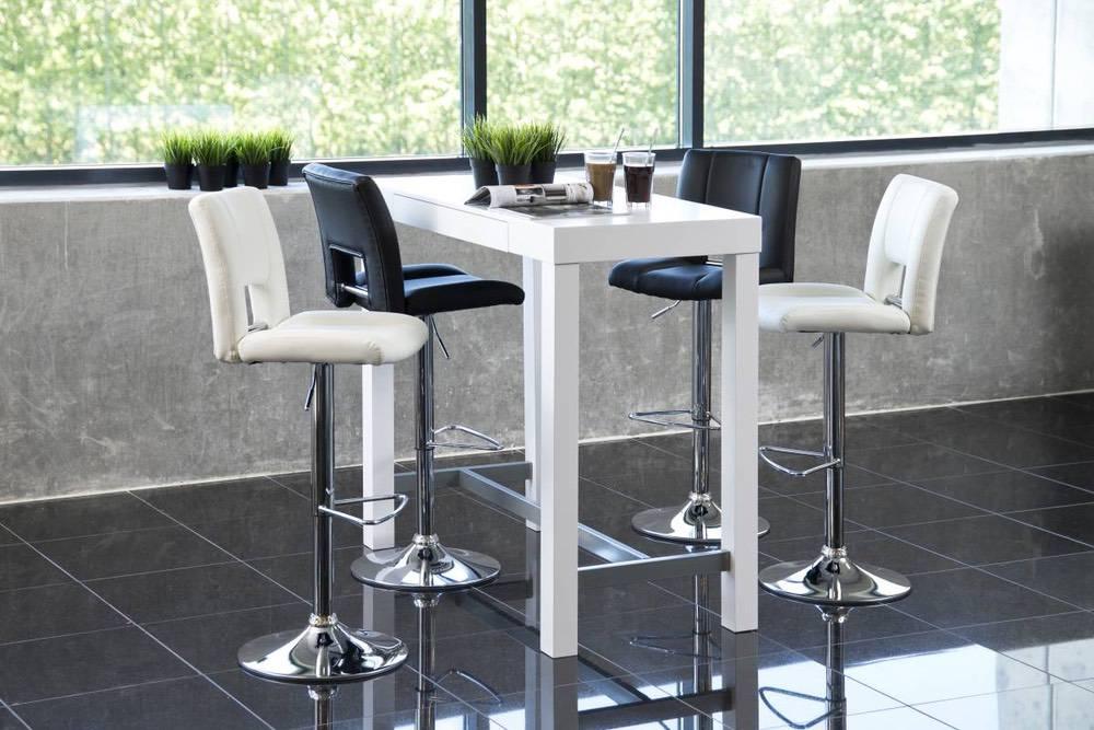 Designová barová židle Nerine bílá a chromová