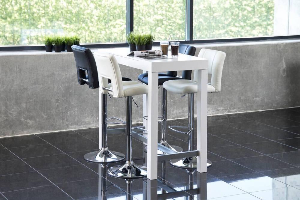 Designová barová židle Nerine bílá a chromová-ekokůže