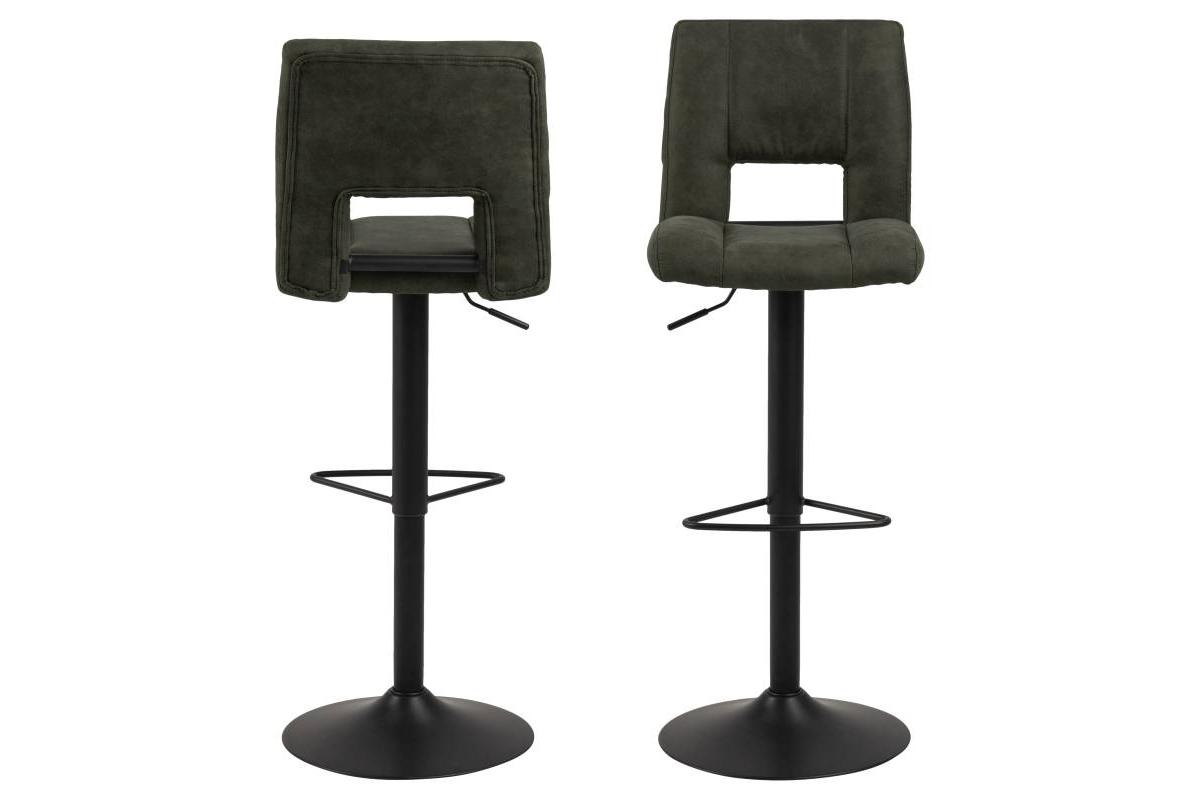 Designová barová židle Nerine olivově zelená a černá