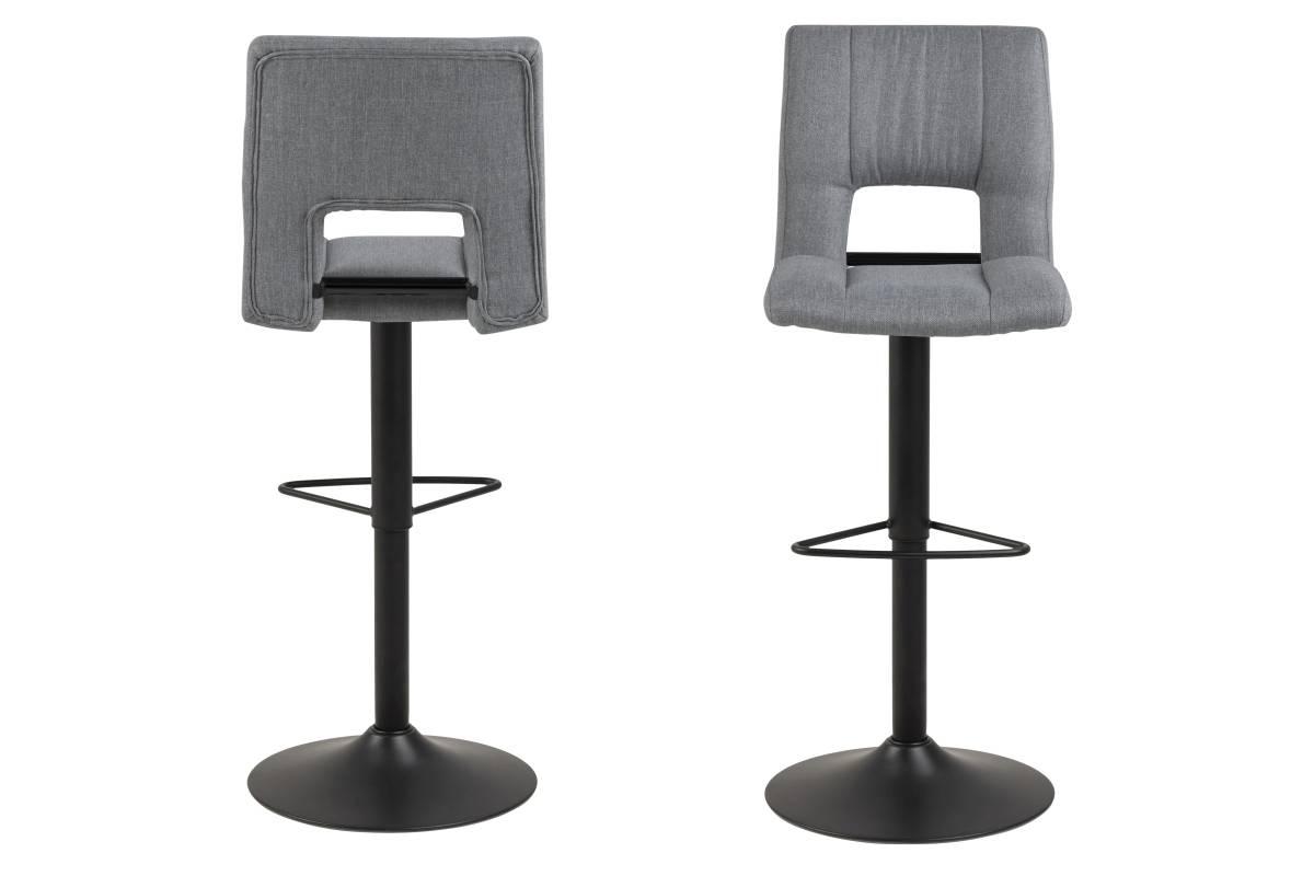 Designová barová židle Nerine světle šedá a černá-tkanina