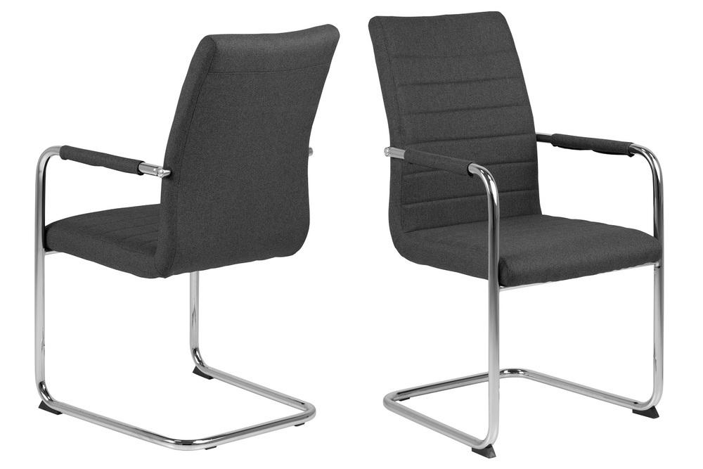 Designová jídelní židle Daitaro s opěrkami tmavě šedá / stříbrná