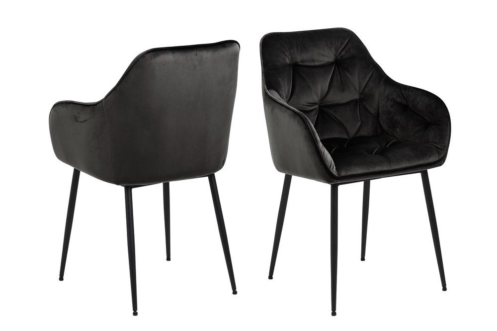Designové židle Alarik šedá / hnědá