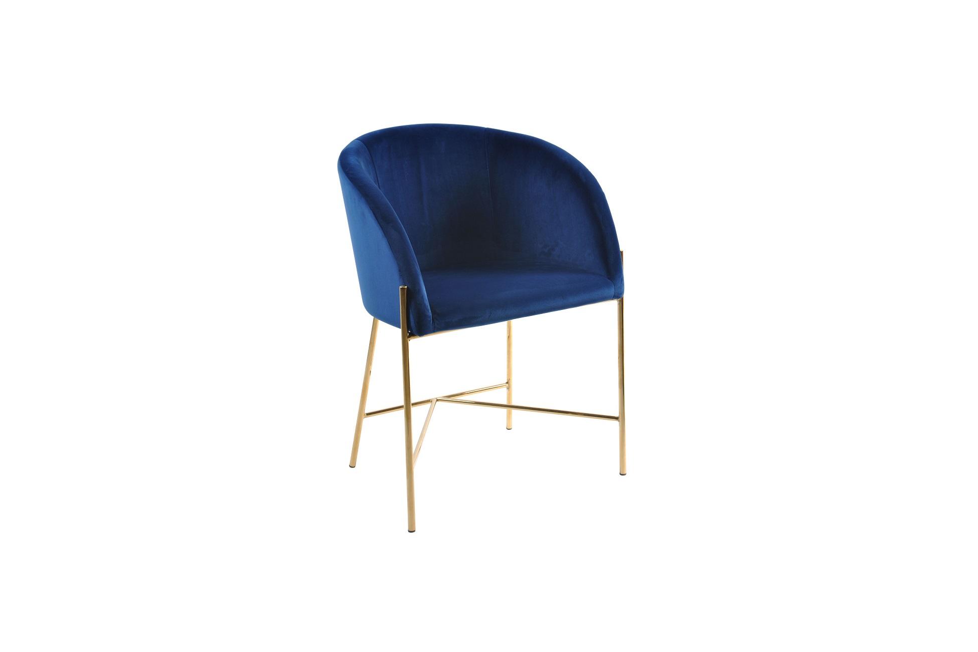 Designové křeslo Alliser  tmavě modré / zlaté