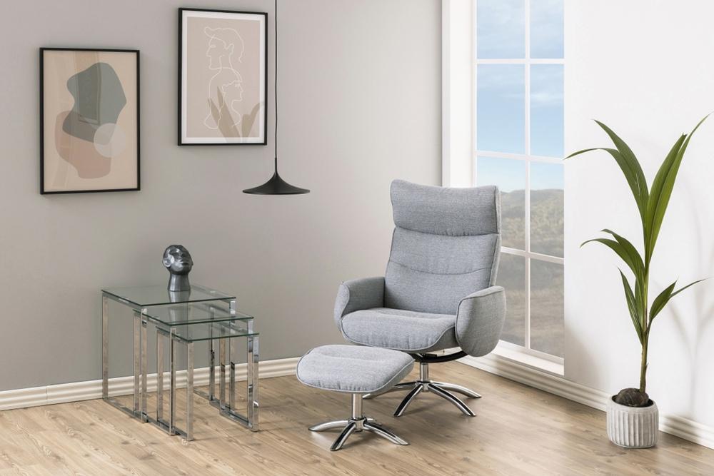 Designové relaxační křeslo Naoise světle šedé - II. třída