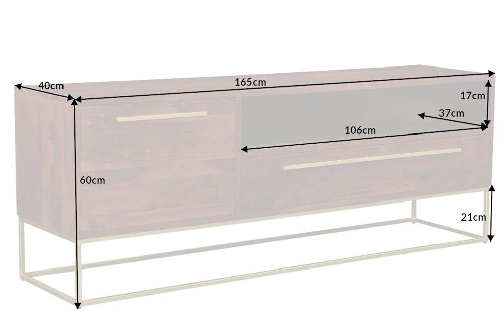 Designový TV stolek Malakai 165 cm přírodní akácie - zlatý