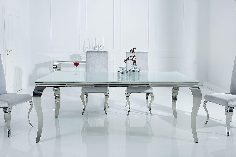 Jídelní stůl Rococo 180 cm bílá / stříbrná
