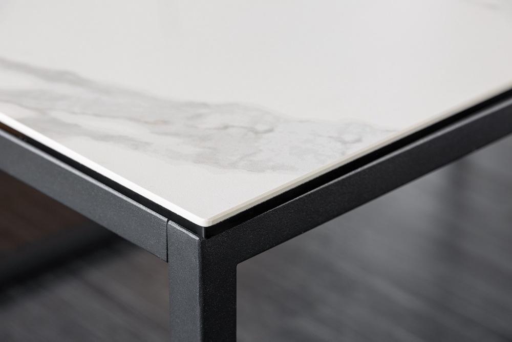 Keramický konferenční stolek Sloane 100 cm bílý mramor