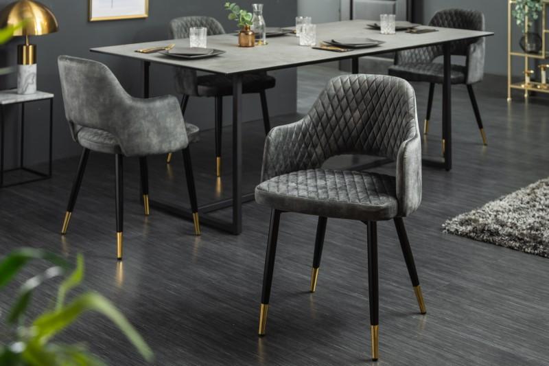 Designová židle Laney šedozelený samet