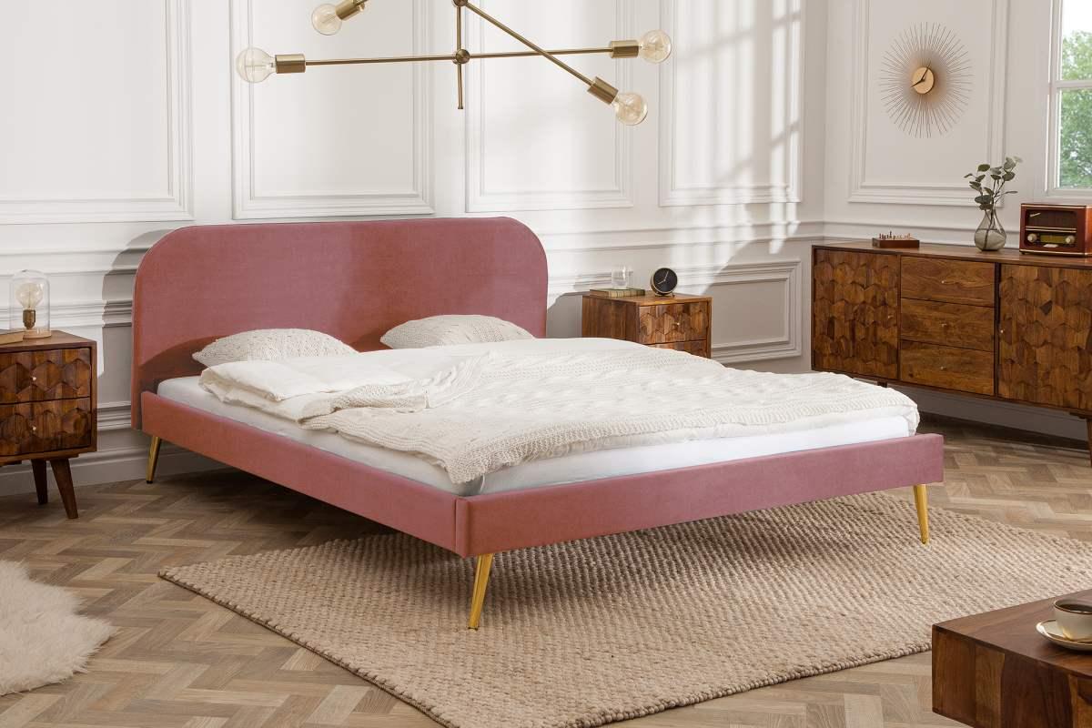 Manželská postel Lena 140 x 200 cm - starorůžový samet
