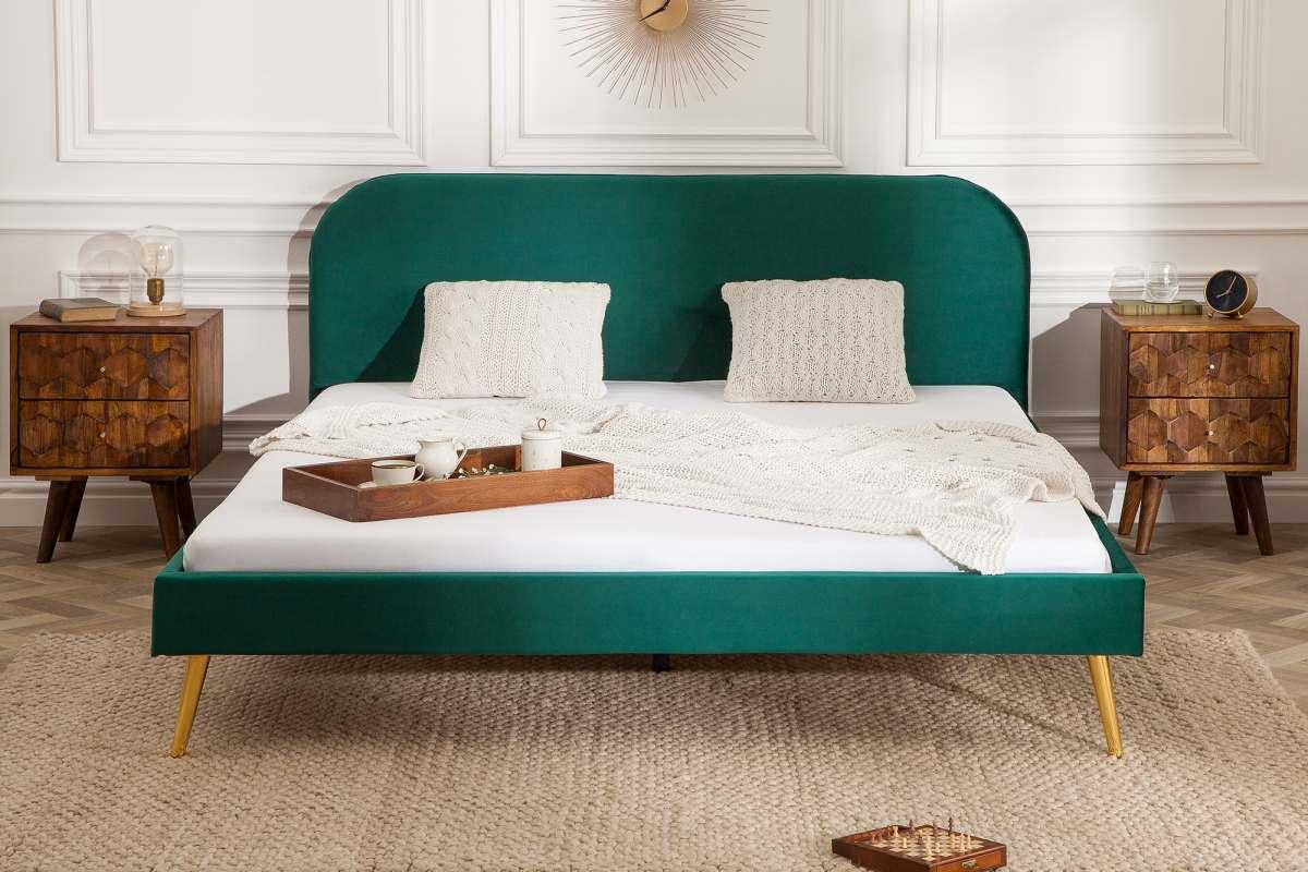 Manželská postel Lena 160 x 200 cm - zelený samet
