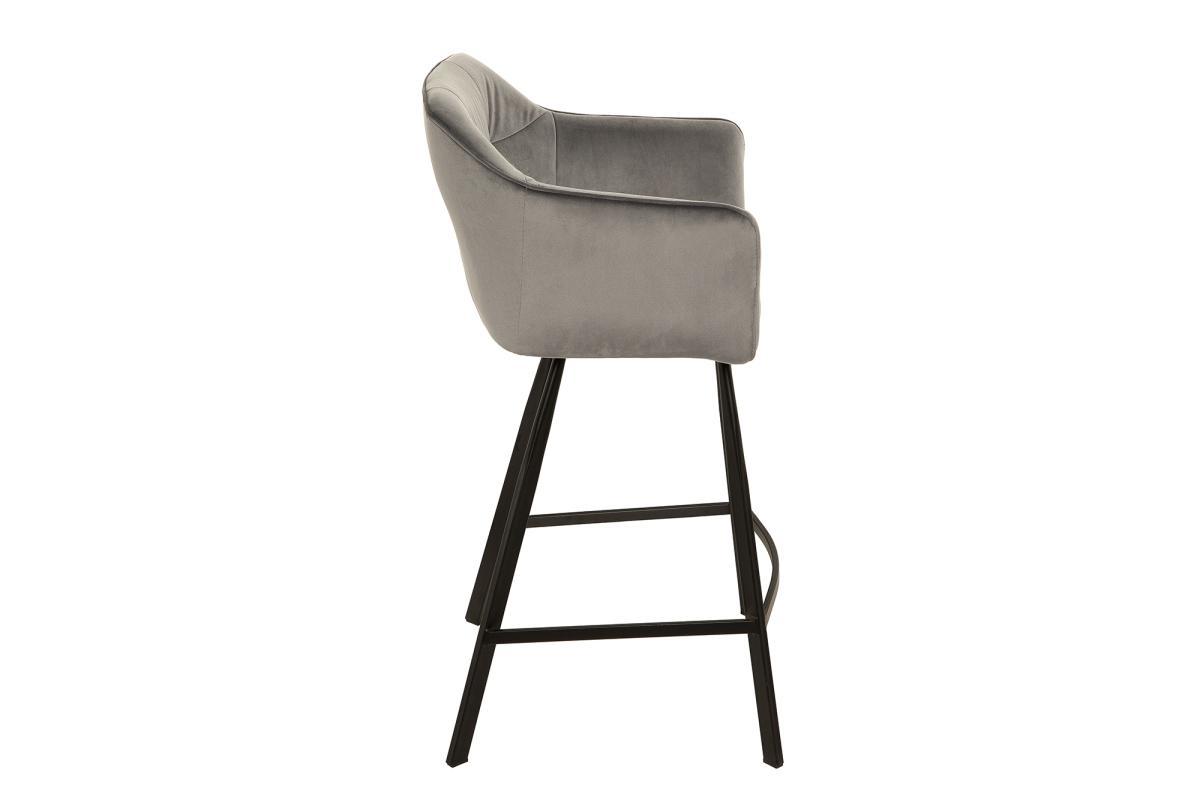 Designová barová židle Giuliana, stříbrný samet