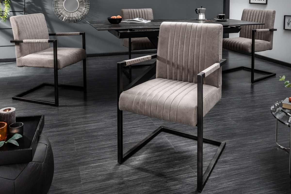 Konzolová židle Boss s područkami, šedohnědé taupe - II. třída