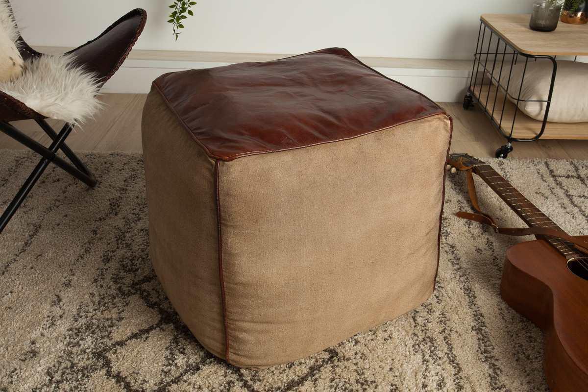 Designová kožená taburetka Derrick, hnědá