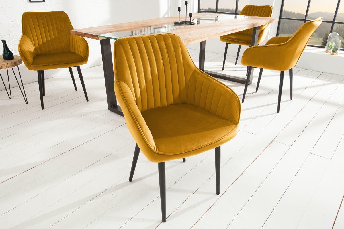 Designová židle Esmeralda, hořčicová žlutá - Skladem (RP)