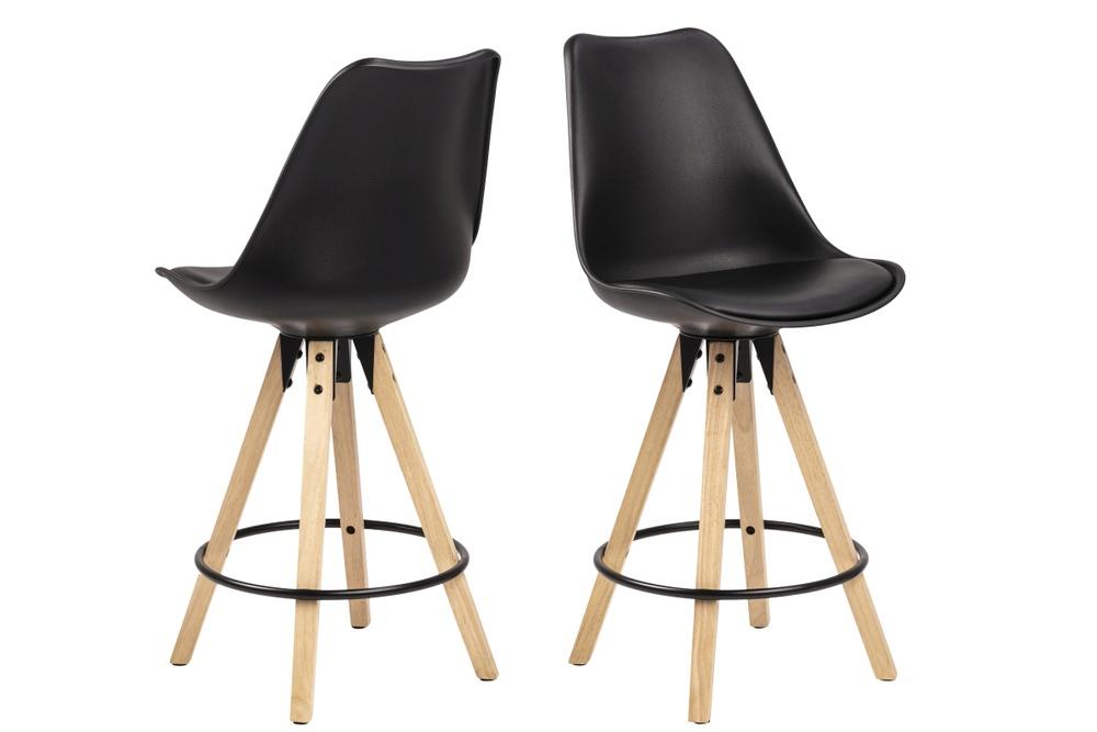 Moderní designová barová židle Nascha černá-přírodní