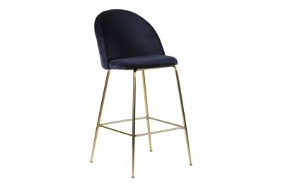 Designová barová židle Kristopher, modrá / mosaz