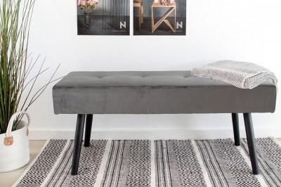 Designová lavice Elaina, šedý samet
