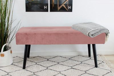 Designová lavice Elaina růžový samet