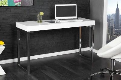 Psací stůl Office bílý vysoký lesk