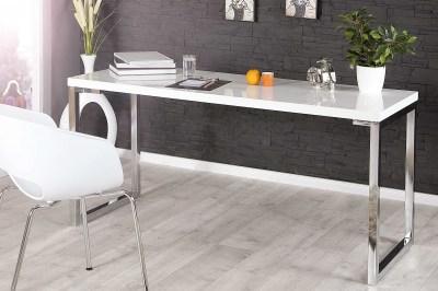 Dizajnový psací stůl Office III bílý ve vysokém lesku
