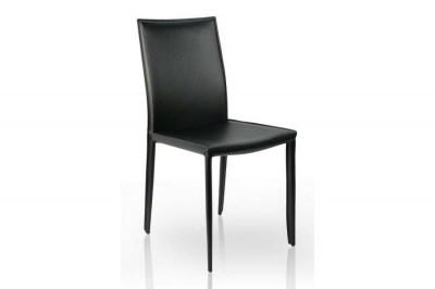 Luxusní jídelná Židle Neapol černá kůže