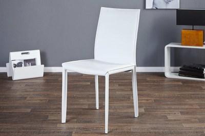 Luxusní jídelná Židle Neapol bílá kůže