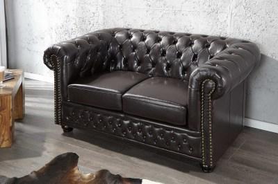 Luxusní dizajnová dvou-sedačka Chesterfield tmavě hnědá