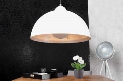 Designová závěsná lampa Atelier bílo-stříbrná