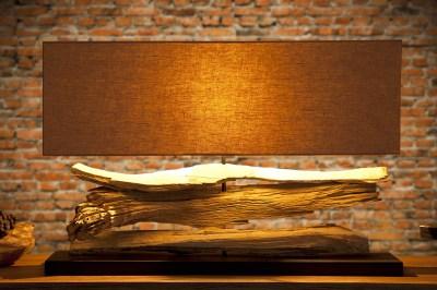 Designová stolní lampa z naplaveného dřeva Lake béžová