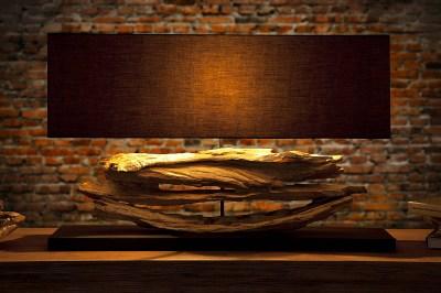 Designová stolní lampa z naplaveného dřeva Lake černá