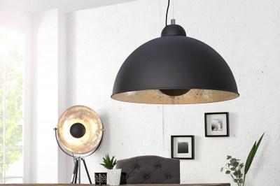 Designová závěsná lampa Atelier černo-stříbrná
