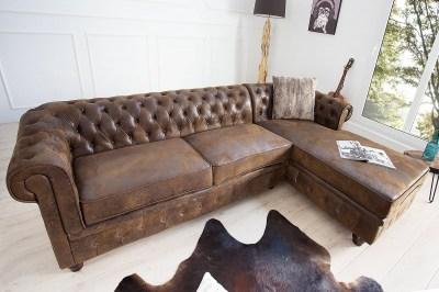 Luxusní dizajnová rohová sedačka Chesterfield Vintage hnědá