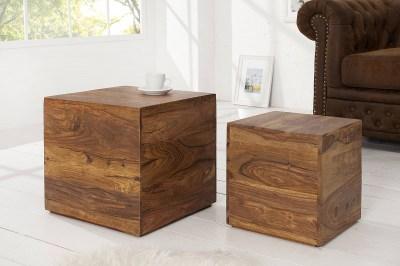 Dizajnové stolky Timber kocky z masívního dřeva