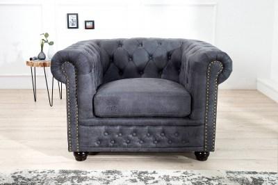 Luxusní vintage křeslo Chesterfield šedé