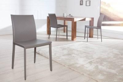 Luxusní jídelná židle Neapol šedá kůže