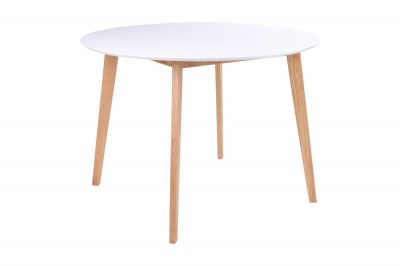 Kulatý jídelní stůl Carmen, přírodní / bílý