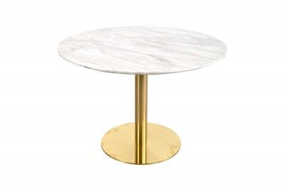 Kulatý jídelní stůl Kane 110 cm mramor / mosaz