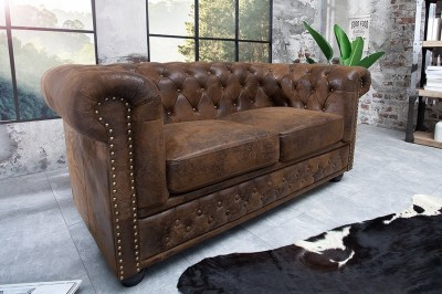 Luxusní dizajnová dvou-sedačka Chesterfield Vintage hněd