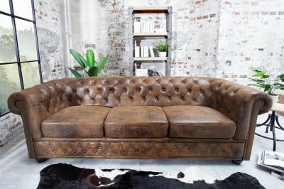 Luxusní designová troj-sedačka Chesterfield Vintage hnědá