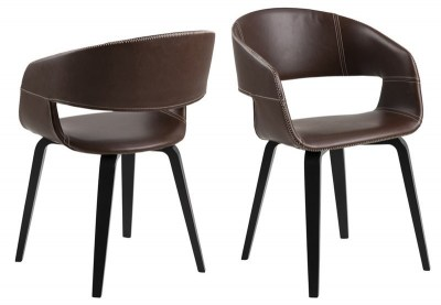 Designová židle Nere teplá hnědá