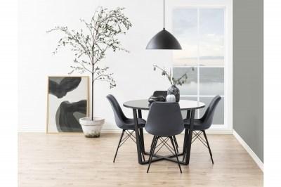 Kulatý jídelní stůl Nayo mramorová potisk, černá