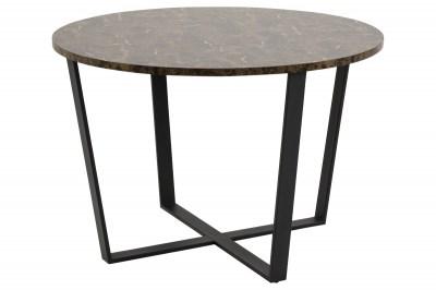 Kulatý jídelní stůl Nayo mramorový potisk, hnědá