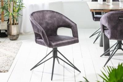 Designová otočná židle Age šedý samet