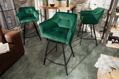 Designová barová židle s područkami Giuliana 100 cm zelený samet