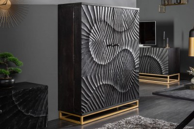 Designová barová skříňka Shayla 141cm černé mango