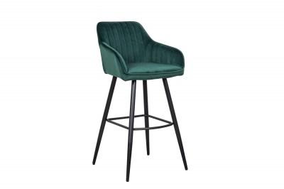 Designová barová židle Esmeralda smaragdový samet