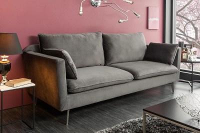 Designová sedačka Lena II 210 cm stříbrošedý samet
